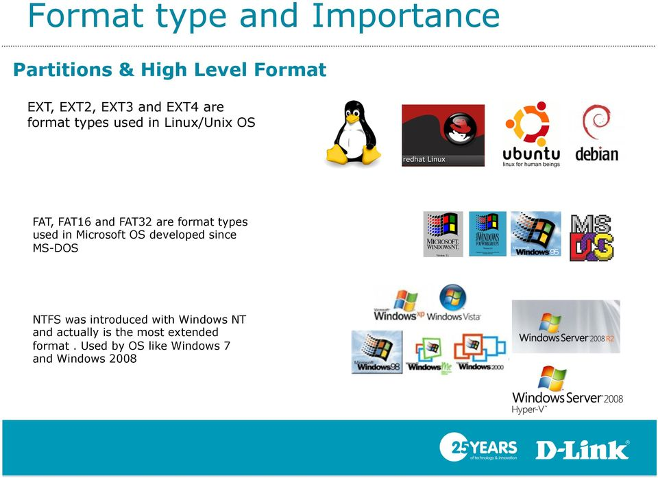 types used in Microsoft OS developed since MS-DOS NTFS was introduced with