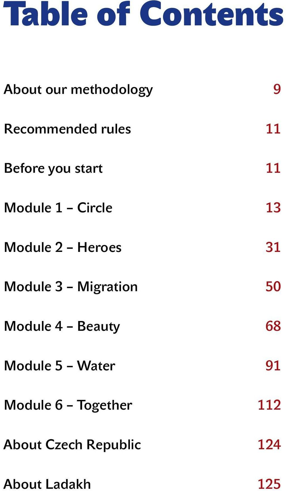 Module 3 Migration 50 Module 4 Beauty 68 Module 5 Water 91