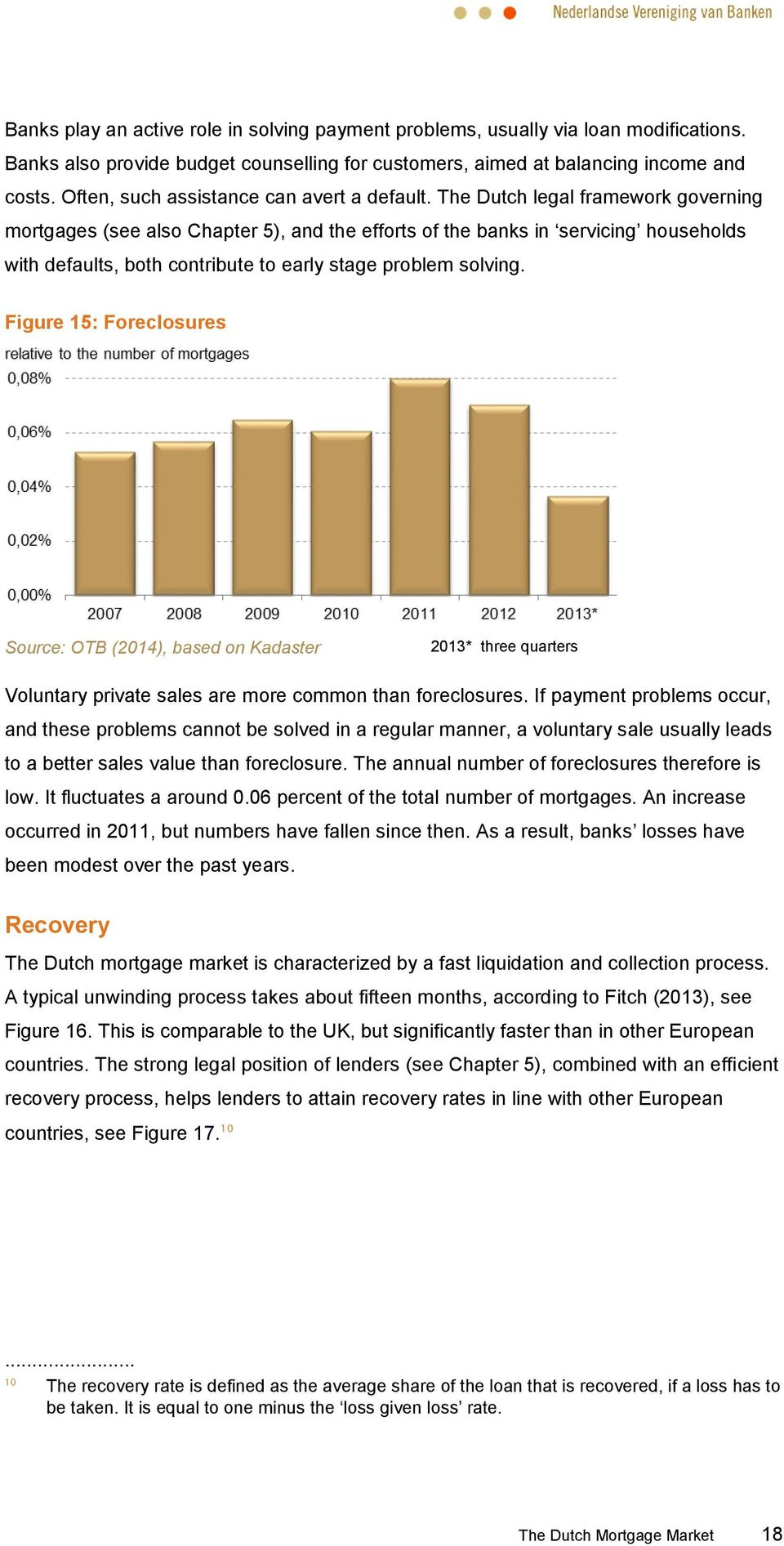 The Dutch legal framework governing mortgages (see also Chapter 5), and the efforts of the banks in servicing households with defaults, both contribute to early stage problem solving.