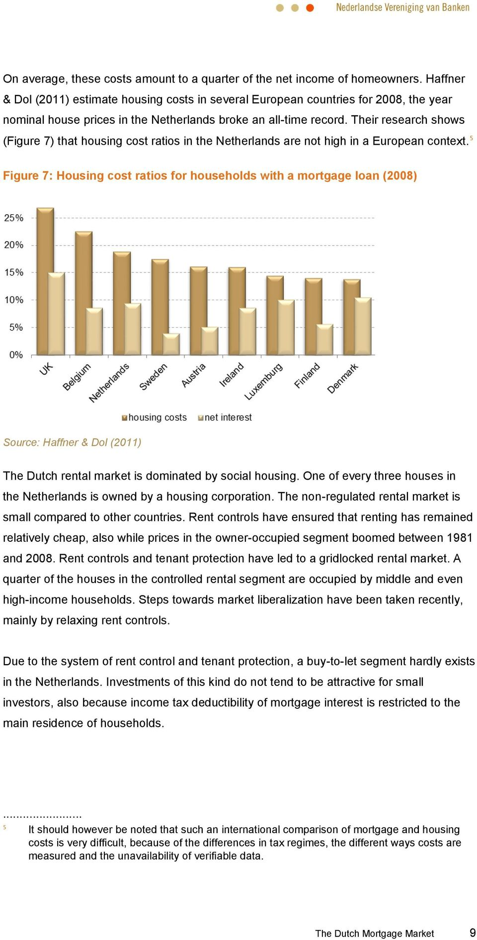 Their research shows (Figure 7) that housing cost ratios in the Netherlands are not high in a European context.