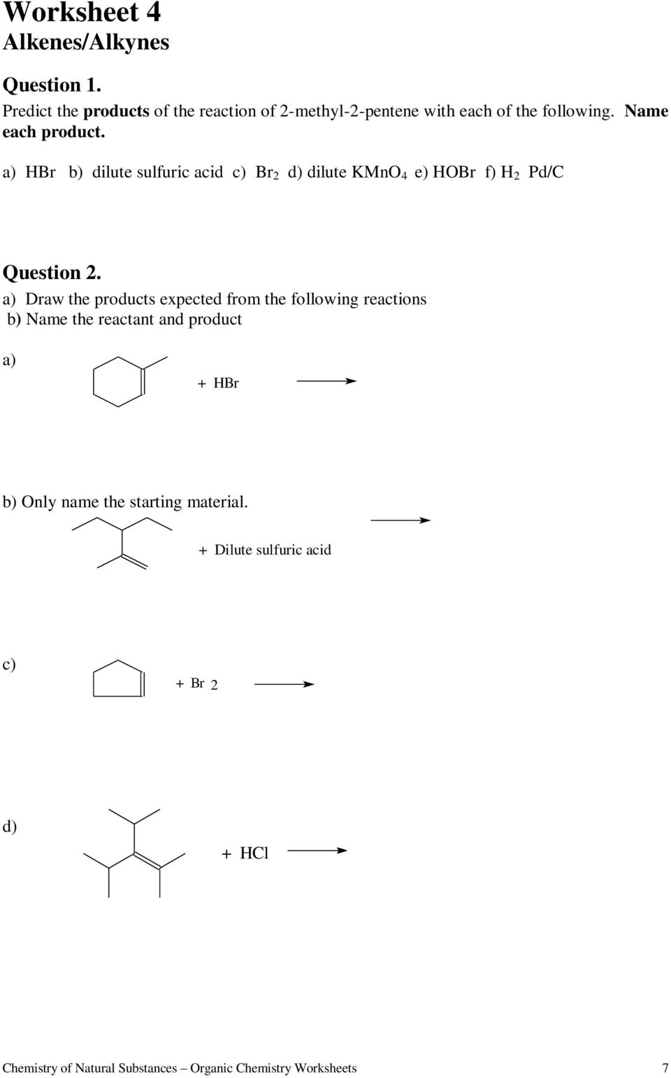 worksheet Chemistry Dimensions 2 Worksheet Solutions worksheets for organic chemistry pdf a h b dilute sulfuric acid c 2 d kmno 4
