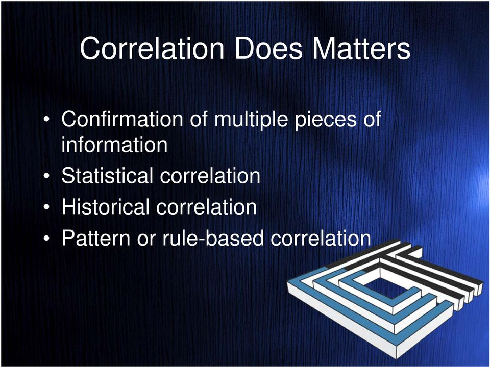 Statistical correlation Historical