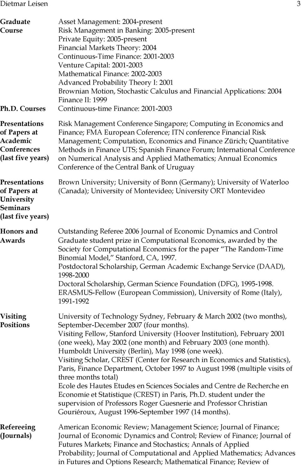 Courses Continuous-time Finance: 2001-2003 Presentations of Papers at Academic Conferences (last five years) Presentations of Papers at University Seminars (last five years) Honors and Awards