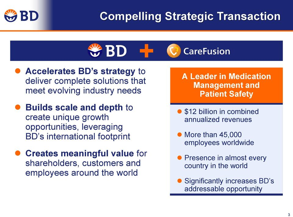 customers and employees around the world A Leader in Medication Management and Patient Safety $12 billion in combined annualized