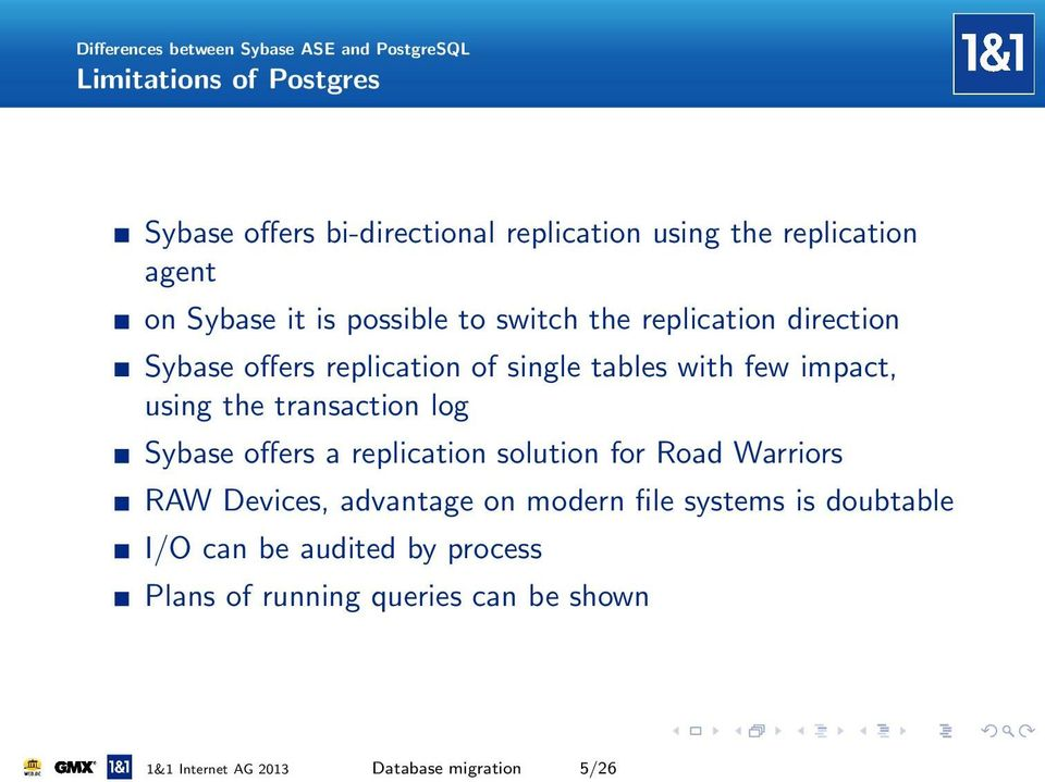 few impact, using the transaction log Sybase offers a replication solution for Road Warriors RAW Devices, advantage on modern