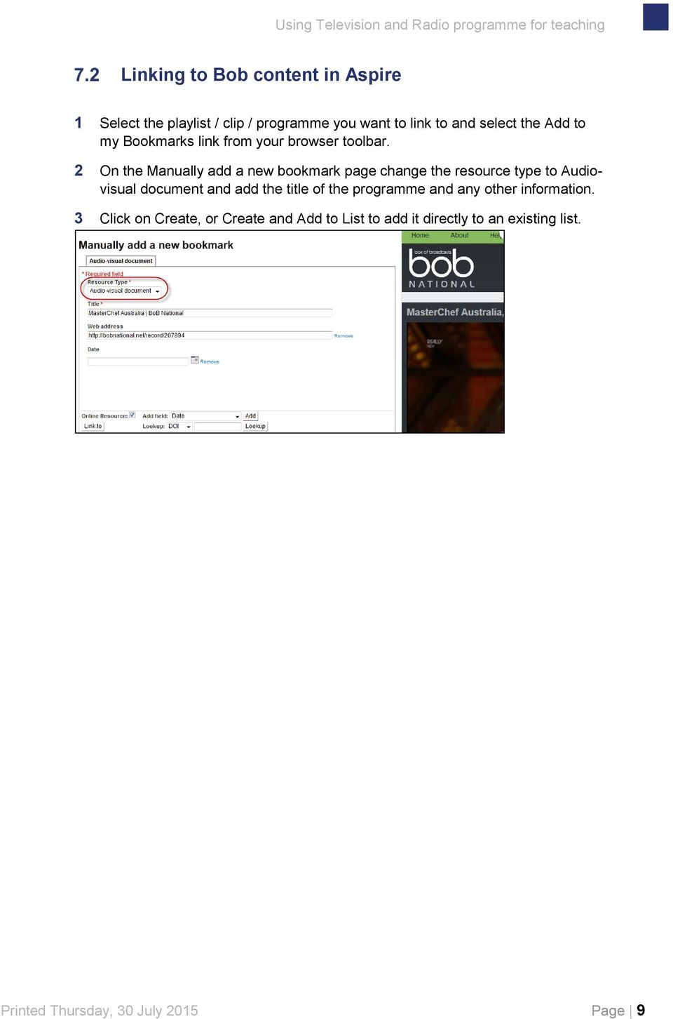 2 On the Manually add a new bookmark page change the resource type to Audiovisual document and add the title of the