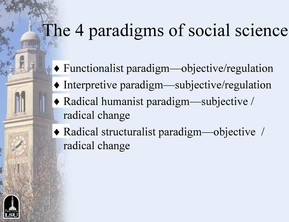 subjective/regulation Radical humanist paradigm subjective