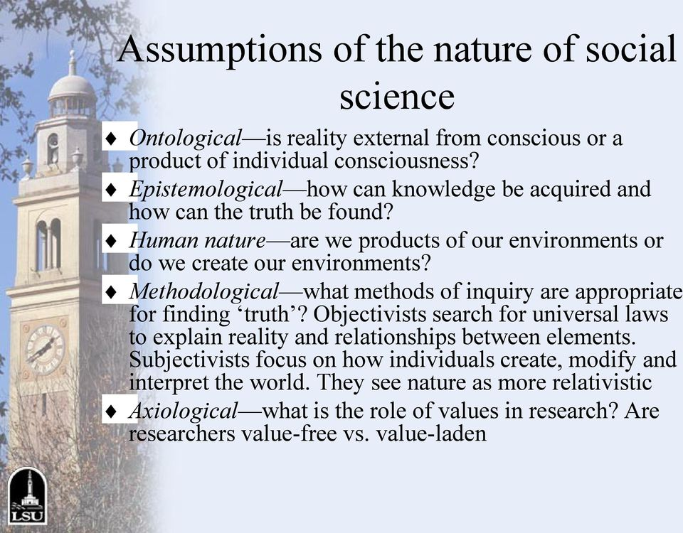 Methodological what methods of inquiry are appropriate for finding truth? Objectivists search for universal laws to explain reality and relationships between elements.
