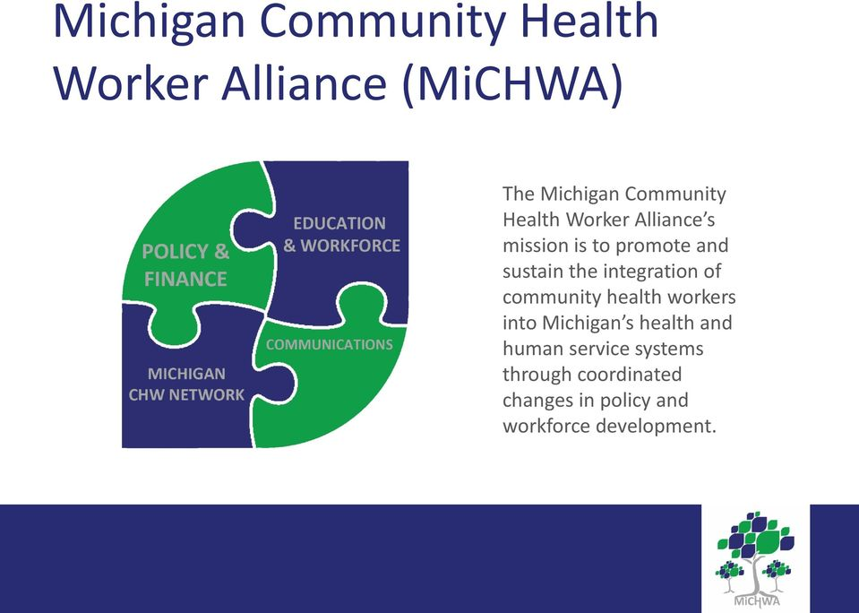 integration of community health workers into Michigan s health and human