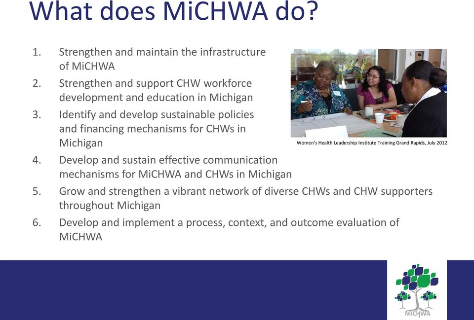 Identify and develop sustainable policies and financing mechanisms for CHWs in Michigan 4.