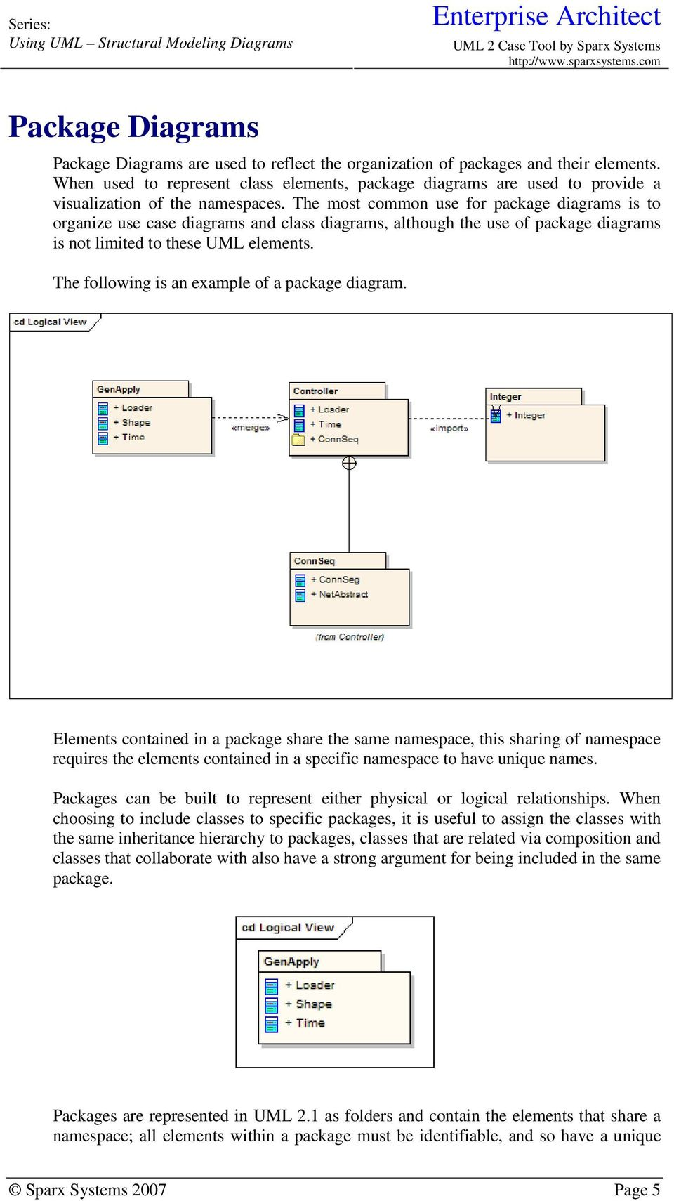 The most common use for package diagrams is to organize use case diagrams and class diagrams, although the use of package diagrams is not limited to these UML elements.
