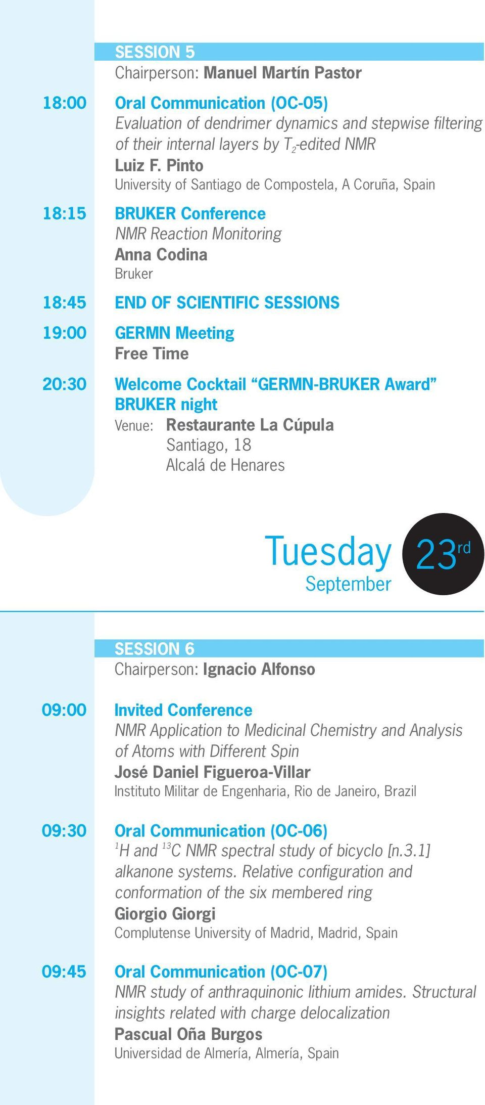 Welcome Cocktail GERMN-BRUKER Award BRUKER night Venue: Restaurante La Cúpula Santiago, 18 Alcalá de Henares Tuesday September 23 rd SESSION 6 Chairperson: Ignacio Alfonso 09:00 Invited Conference
