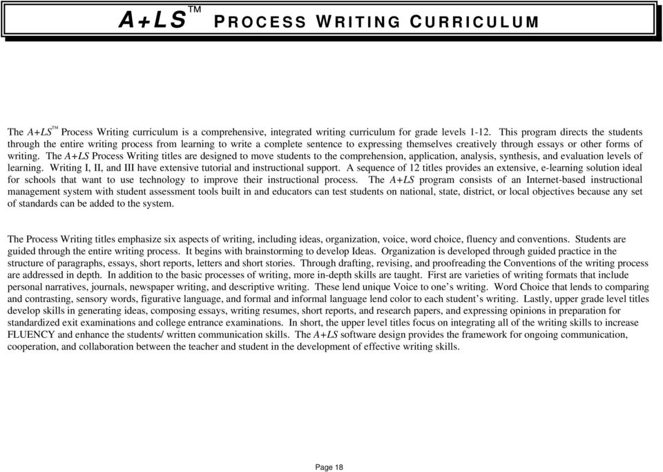 The A+LS Process Writing titles are designed to move students to the comprehension, application, analysis, synthesis, and evaluation levels of learning.