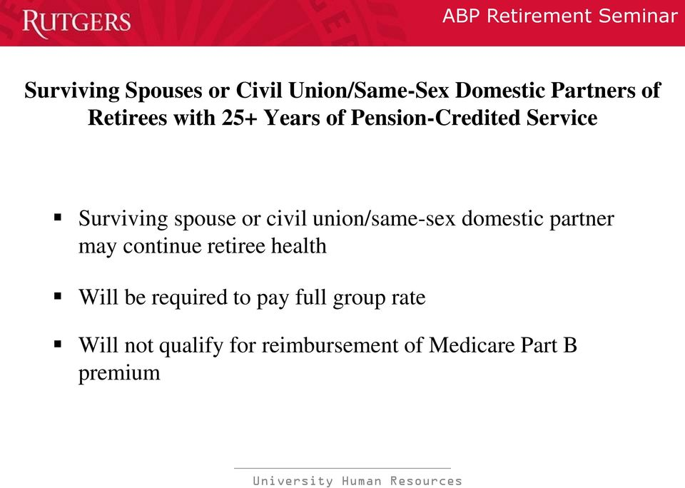 Medicare and same sex domestic partners