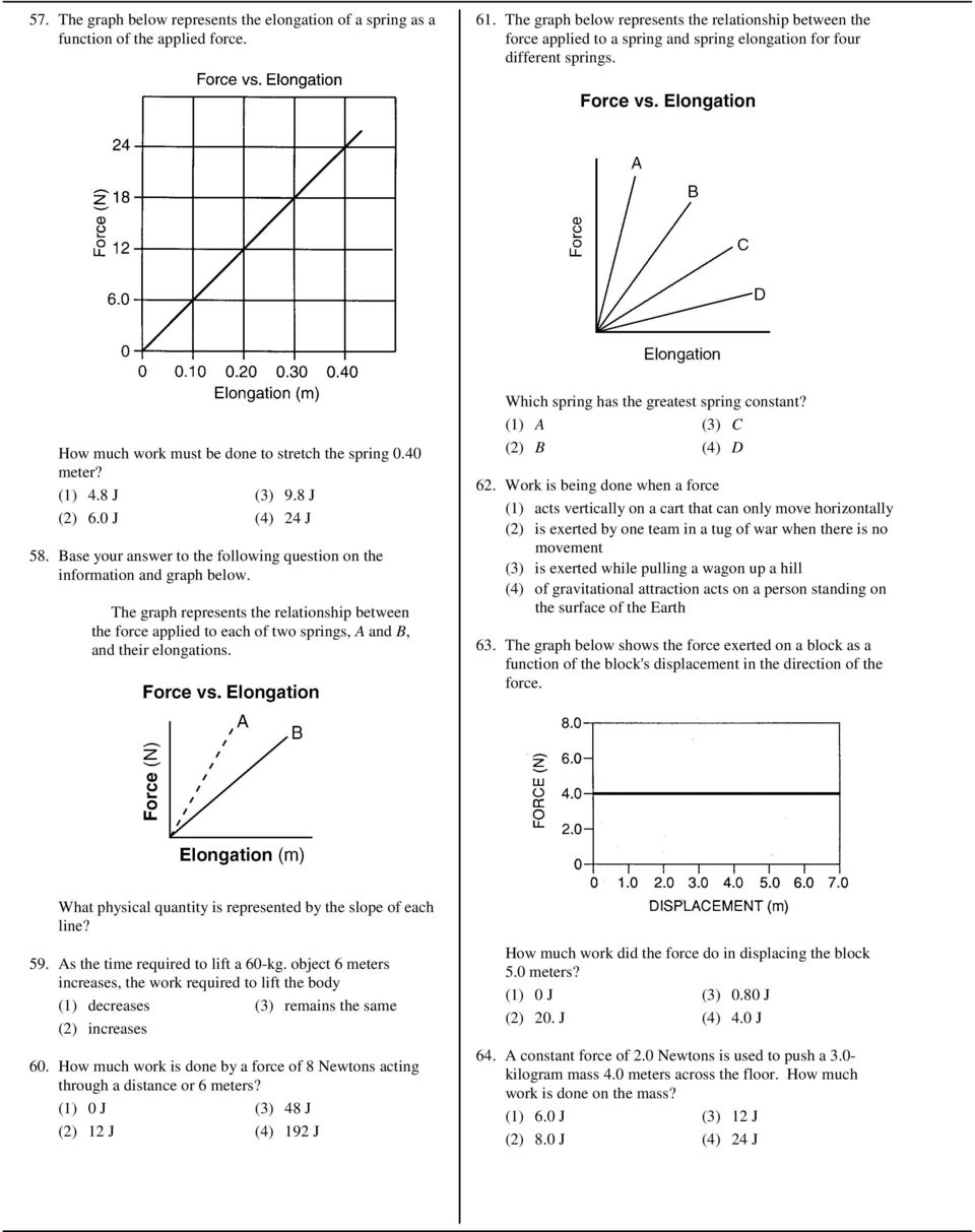 8 J (3) 9.8 J (2) 6.0 J (4) 24 J 58. Base your answer to the following question on the information and graph below.