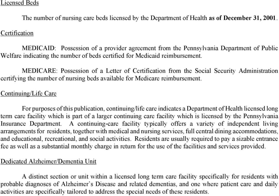 MEDICARE: Possession of a Letter of Certification from the Social Security Administration certifying the number of nursing beds available for Medicare reimbursement.