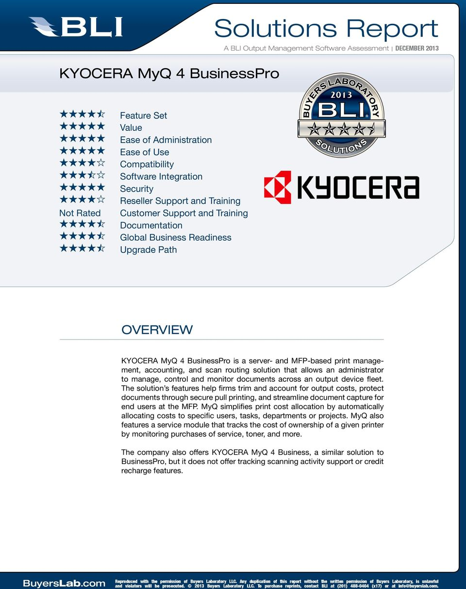 Solutions Report  KYOCERA MyQ 4 BusinessPro OVERVIEW - PDF