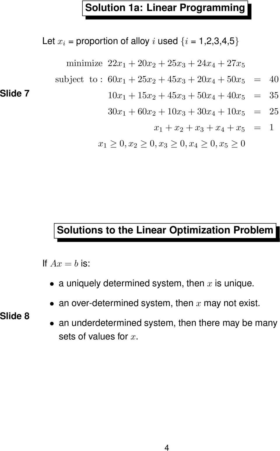 + x 2 + x 3 + x 4 + x 5 = 1 x 1 0,x 2 0,x 3 0,x 4 0,x 5 0 Solutions to the Linear Optimization Problem If Ax = b is: a uniquely determined