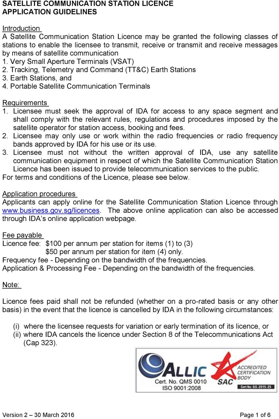 Earth Stations, and 4. Portable Satellite Communication Terminals Requirements 1.