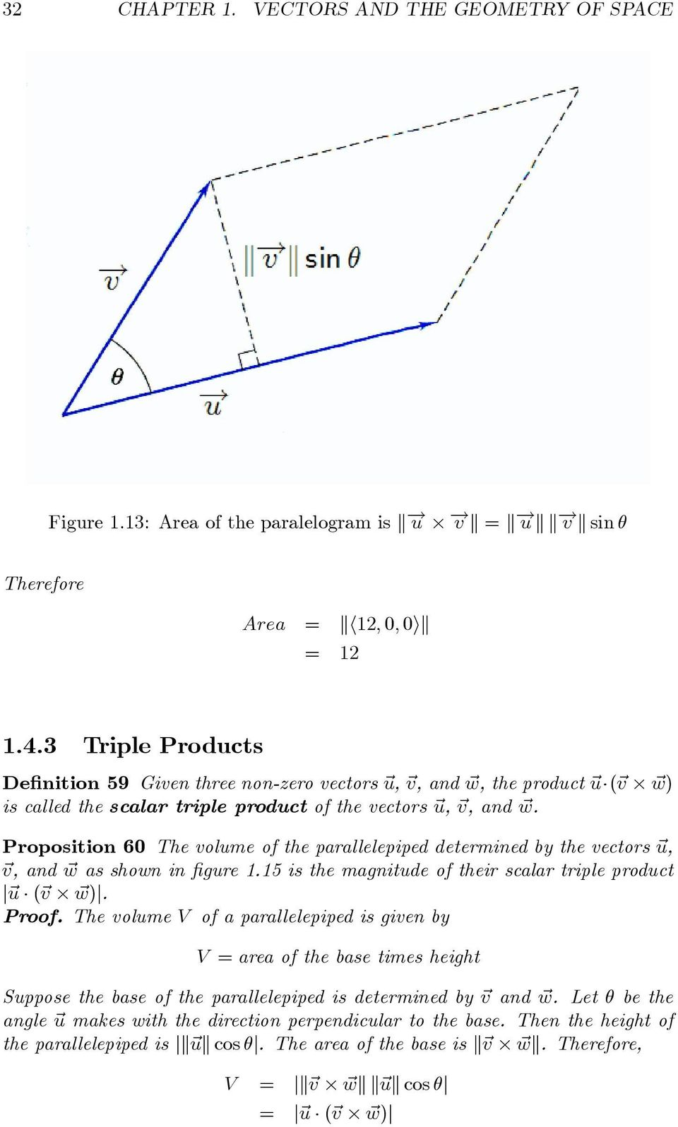 Proposition 60 The volume of the parallelepiped determined by the vectors u, v, and w as shown in figure 1.15 is the magnitude of their scalar triple product u ( v w). Proof.