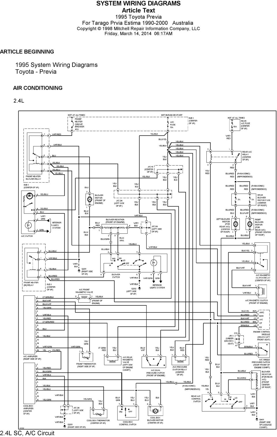 2002 toyota headlight plug wiring diagram 1995 system wiring diagrams toyota - previa. 2.4l sc, a/c ... #5