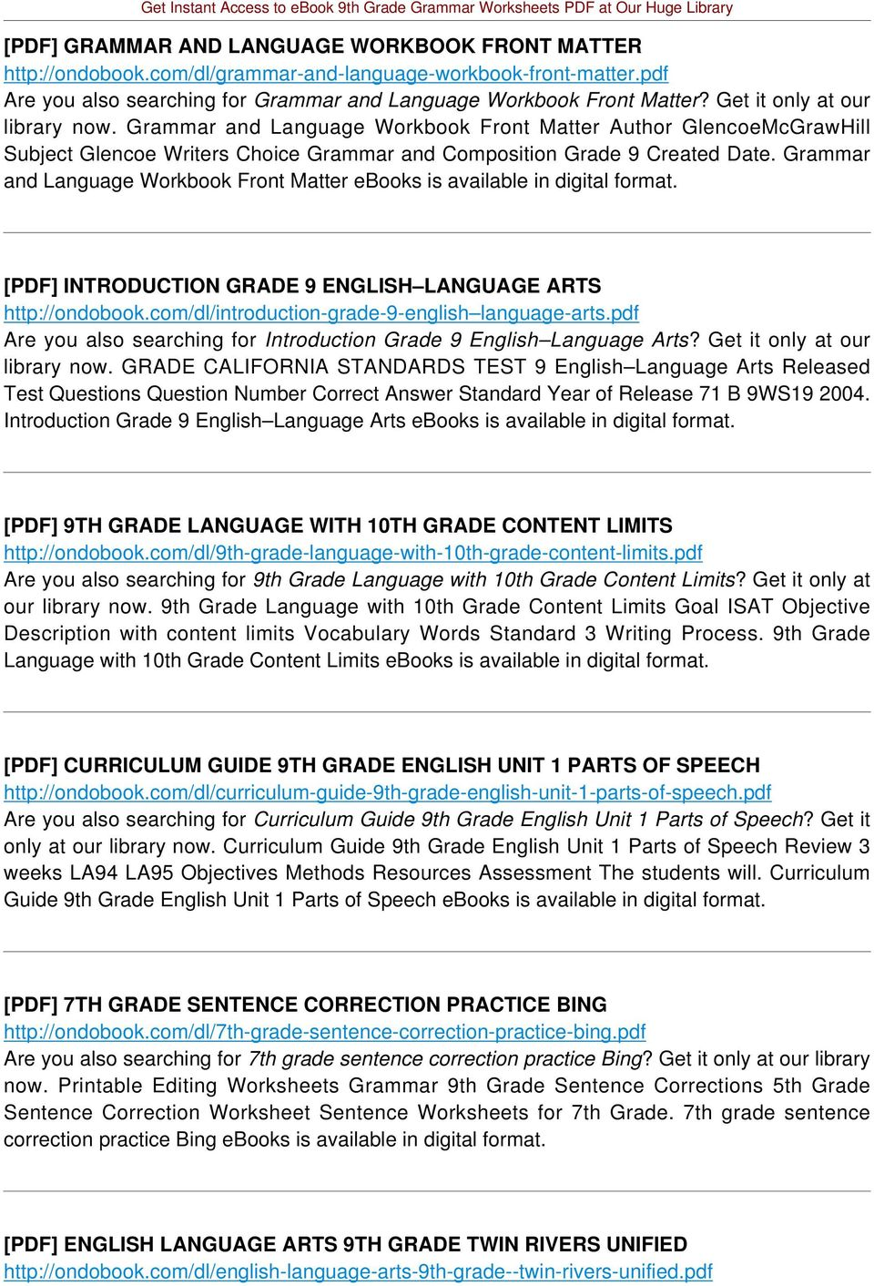 Grammar and Language Workbook Front Matter ebooks is available in digital format. [PDF] INTRODUCTION GRADE 9 ENGLISH LANGUAGE ARTS http://ondobook.com/dl/introduction-grade-9-english language-arts.
