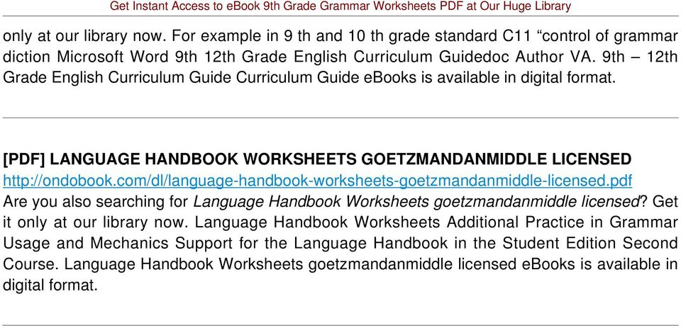 com/dl/language-handbook-worksheets-goetzmandanmiddle-licensed.pdf Are you also searching for Language Handbook Worksheets goetzmandanmiddle licensed? Get it only at our library now.