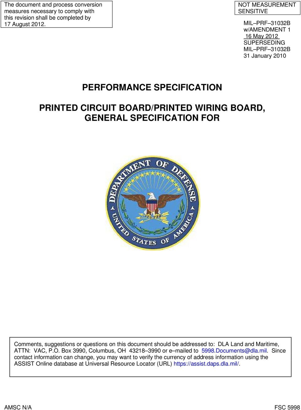 PERFORMANCE SPECIFICATION PRINTED CIRCUIT BOARD/PRINTED