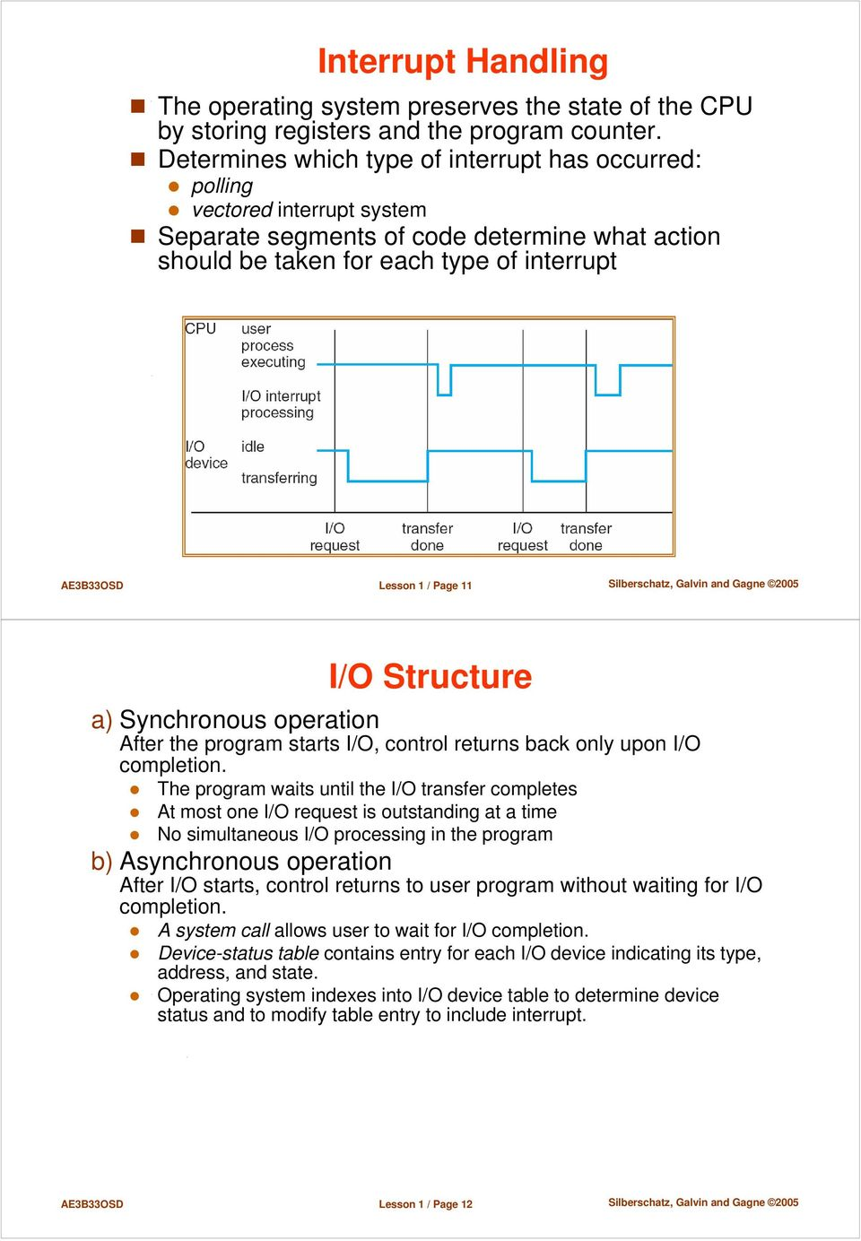 11 I/O Structure a) Synchronous operation After the program starts I/O, control returns back only upon I/O completion.
