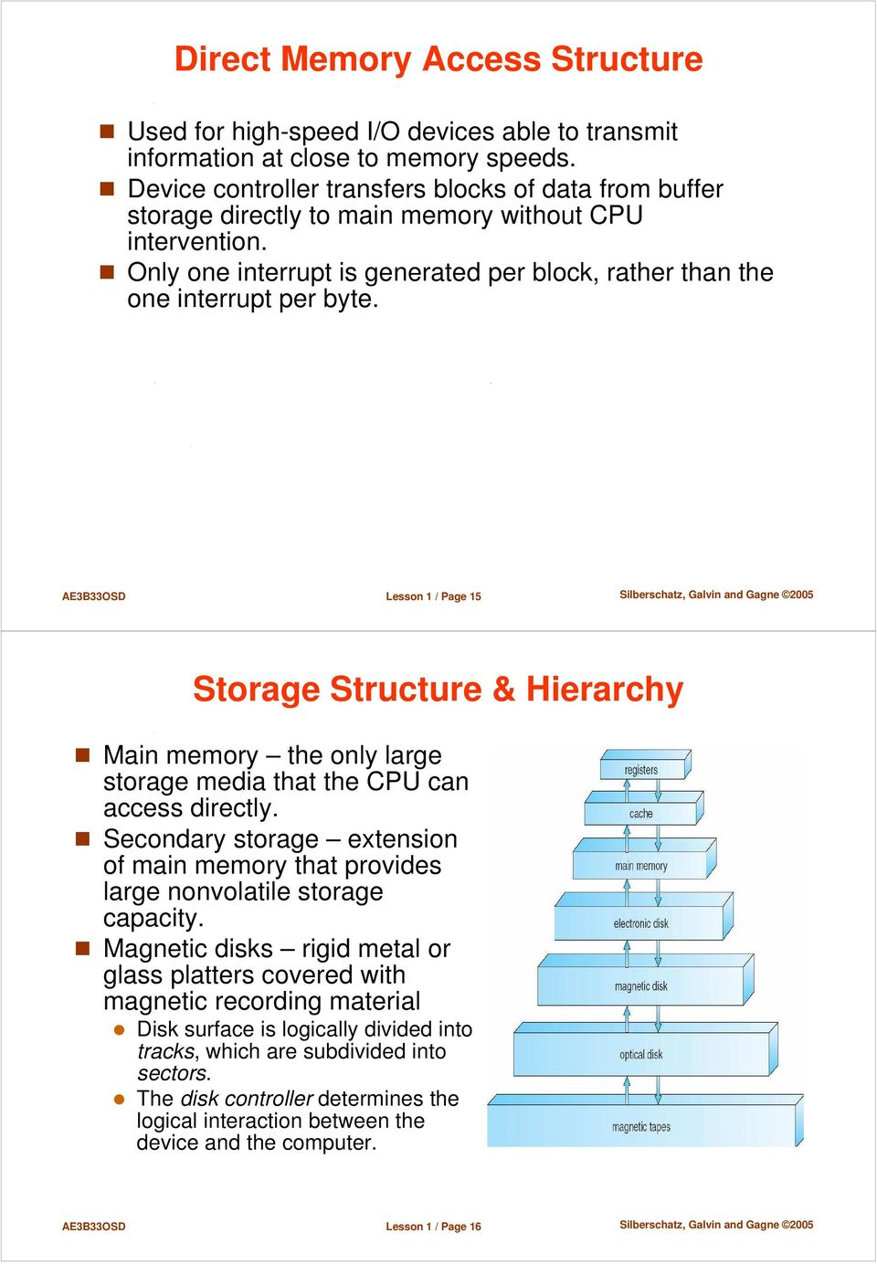 AE3B33OSD Lesson 1 / Page 15 Storage Structure & Hierarchy Main memory the only large storage media that the CPU can access directly.
