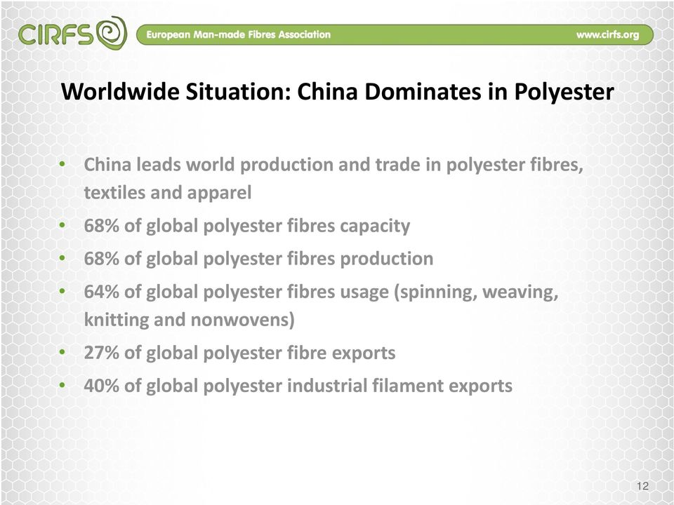 polyester fibres production 64% of global polyester fibres usage (spinning, weaving, knitting