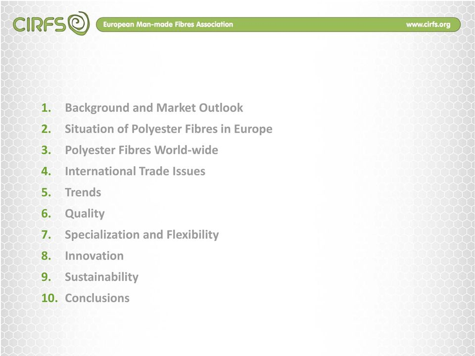 Polyester Fibres World wide 4. International Trade Issues 5.