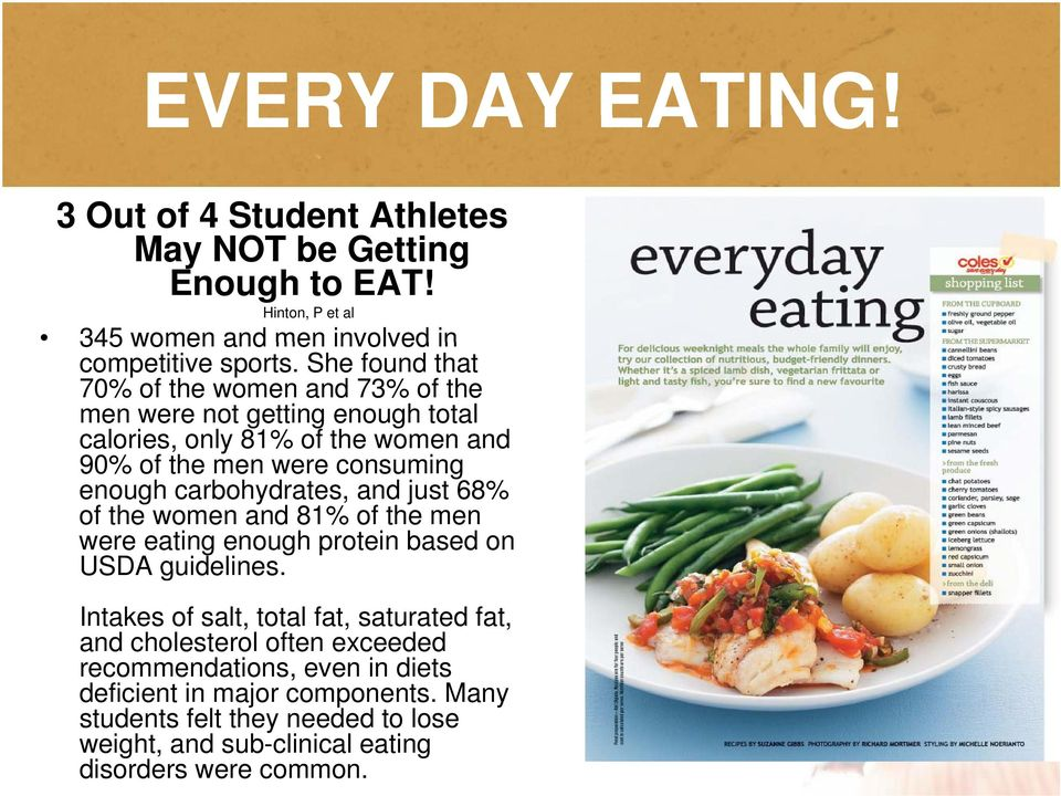 carbohydrates, and just 68% of the women and 81% of the men were eating enough protein based on USDA guidelines.
