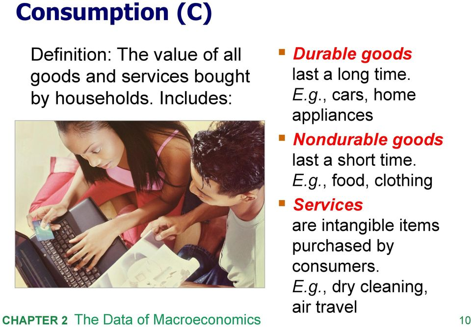 ods last a long time. E.g., cars, home appliances Nondurable goods last a short time.
