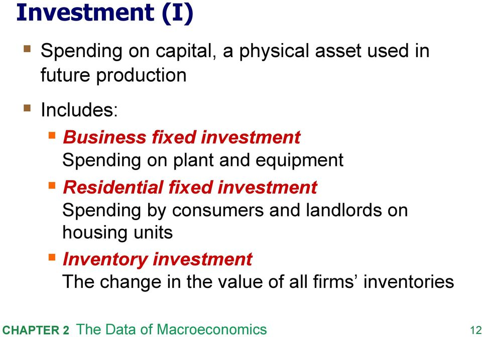 equipment Residential fixed investment Spending by consumers and landlords