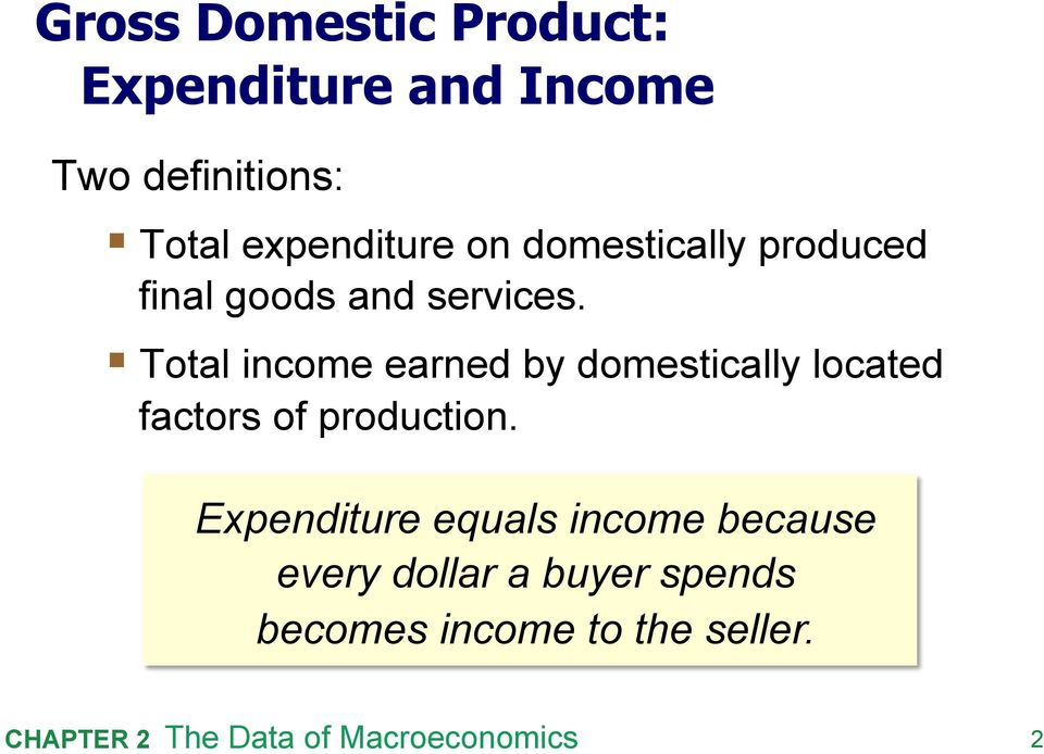 Total income earned by domestically located factors of production.