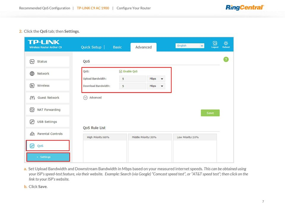 Recommended QoS Configuration Settings for TP-LINK Archer C9 AC1900