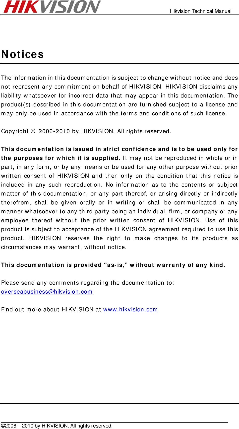 The product(s) described in this documentation are furnished subject to a license and may only be used in accordance with the terms and conditions of such license. Copyright 2006-2010 by HIKVISION.