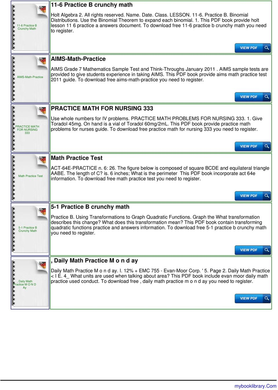 To download free 11-6 practice b crunchy math you need to AIMS-Math-Practice AIMS-Math-Practice AIMS Grade 7 Mathematics Sample Test and Think-Throughs January 2011.