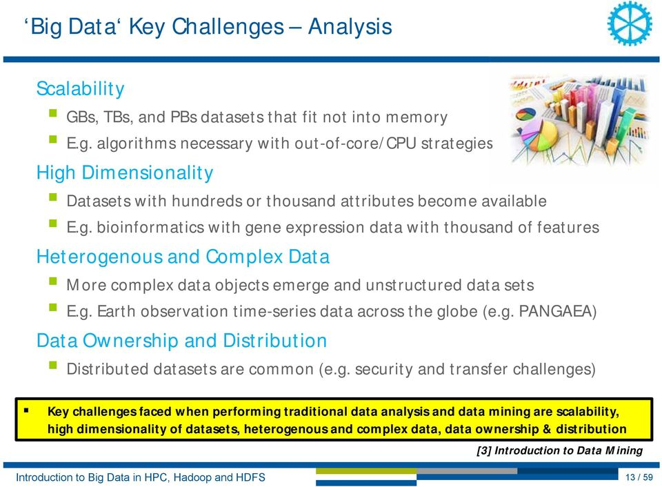 g. PANGAEA) Data Ownership and Distribution Distributed datasets are common (e.g. security and transfer challenges) Key challenges faced when performing traditional data analysis and data mining are