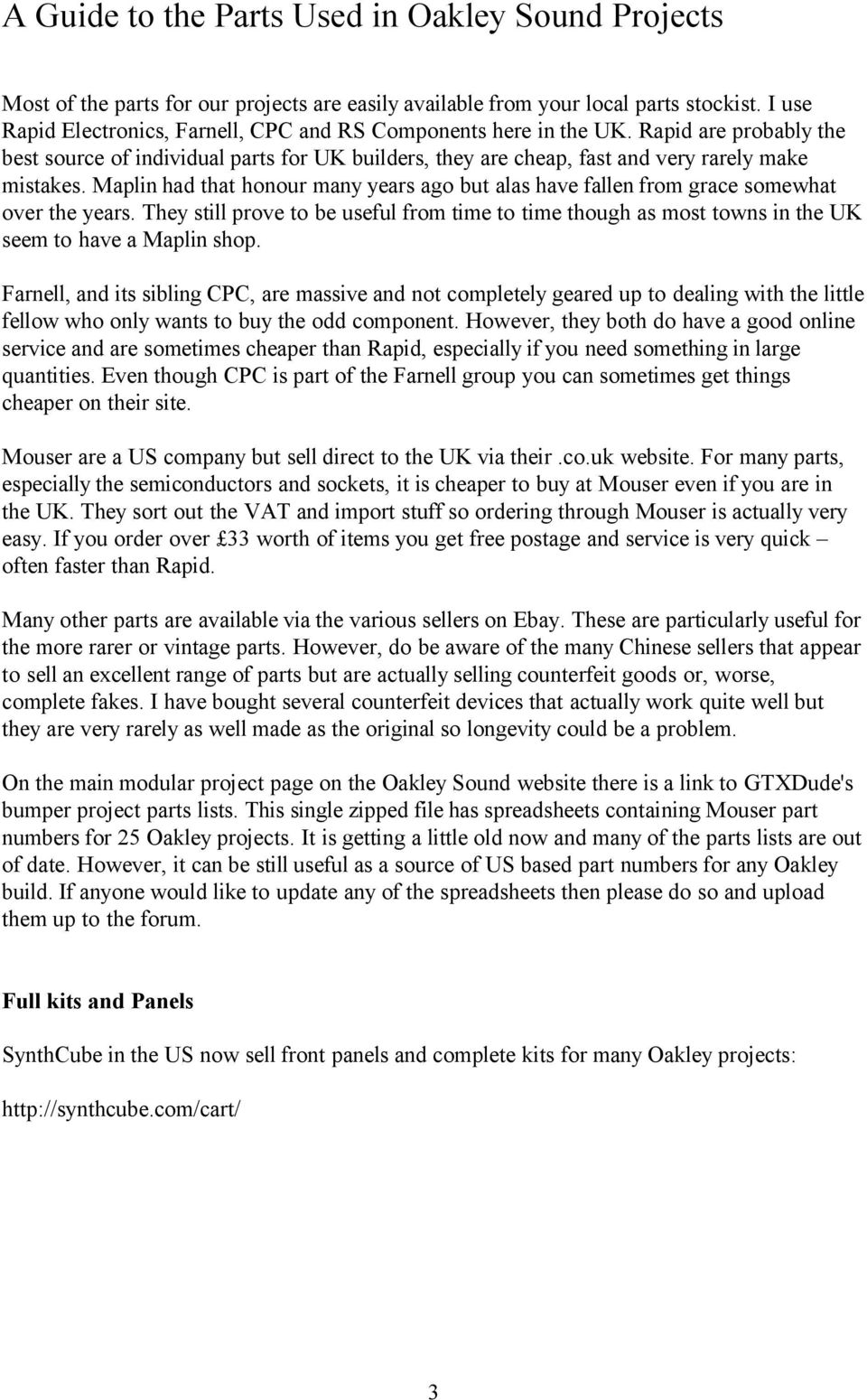 Parts Guide  Oakley Sound Systems  A guide to buying parts