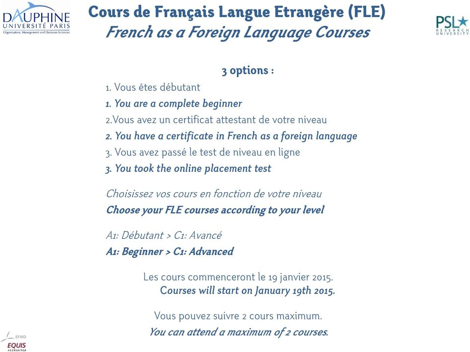 You took the online placement test Choisissez vos cours en fonction de votre niveau Choose your FLE courses according to your level A1: Débutant > C1: Avancé A1: