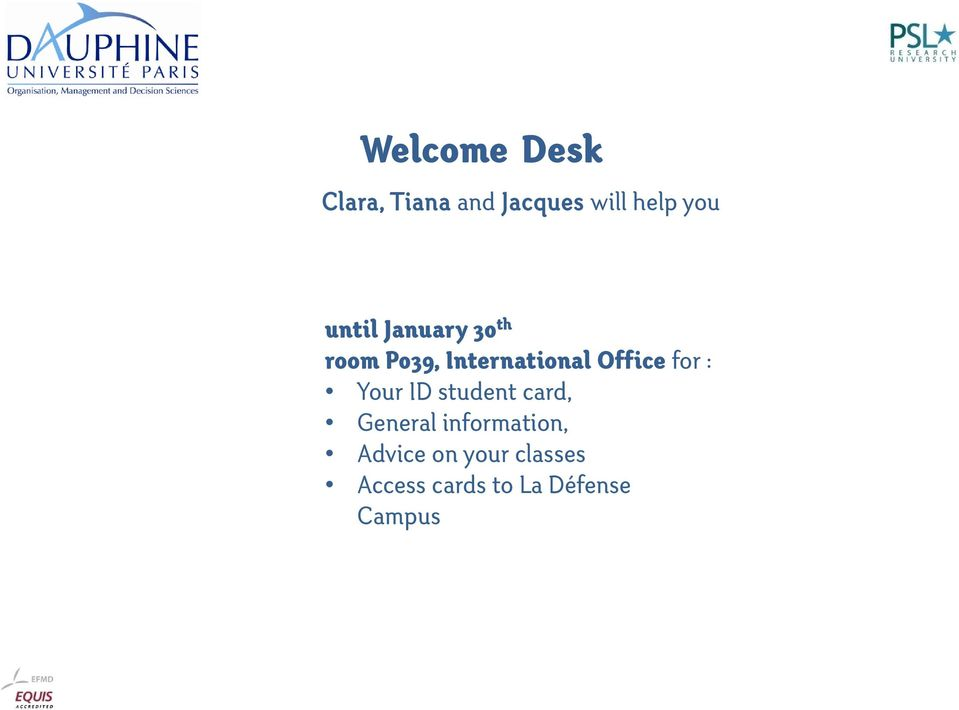 for : Your ID student card, General information,