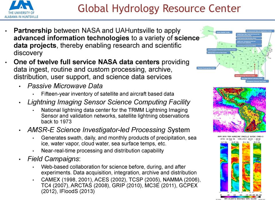 Fifteen-year inventory of satellite and aircraft based data Lightning Imaging Sensor Science Computing Facility National lightning data center for the TRMM Lightning Imaging Sensor and validation