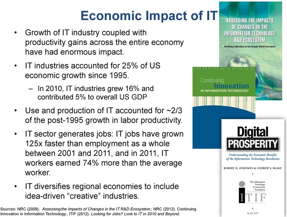 IT sector generates jobs: IT jobs have grown 125x faster than employment as a whole between 2001 and 2011, and in 2011, IT workers earned 74% more than the average worker.