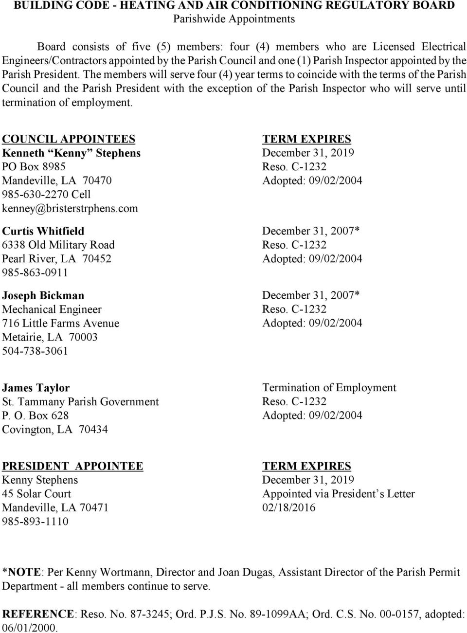 ST  TAMMANY PARISH COUNCIL BOARDS AND COMMISSIONS IN EFFECT