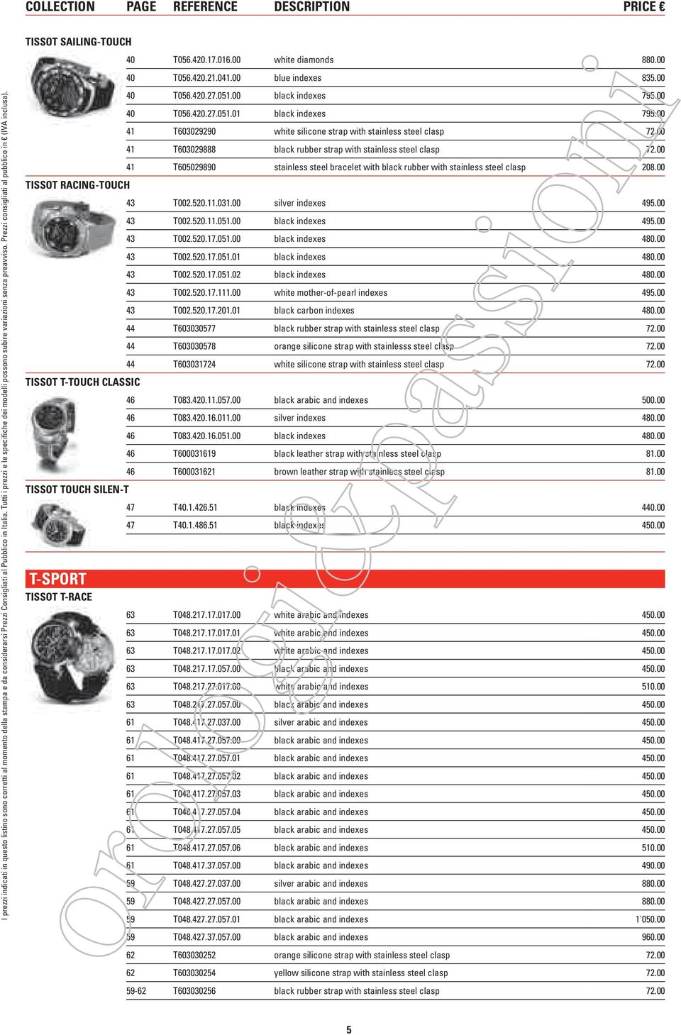 COLLECTION PAGE REFERENCE DESCRIPTION PRICE TISSOT SAILING-TOUCH TISSOT RACING-TOUCH TISSOT T-TOUCH CLASSIC TISSOT TOUCH SILEN-T T-SPORT TISSOT T-RACE 40 T056.420.17.016.00 white diamonds 880.