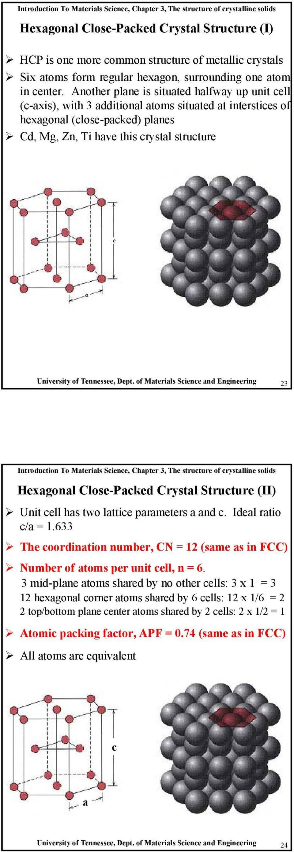 Tennessee, Dept. of Materials Science and Engineering 23 Hexagonal Close-Packed Crystal Structure (II) Unit cell has two lattice parameters a and c. Ideal ratio c/a = 1.