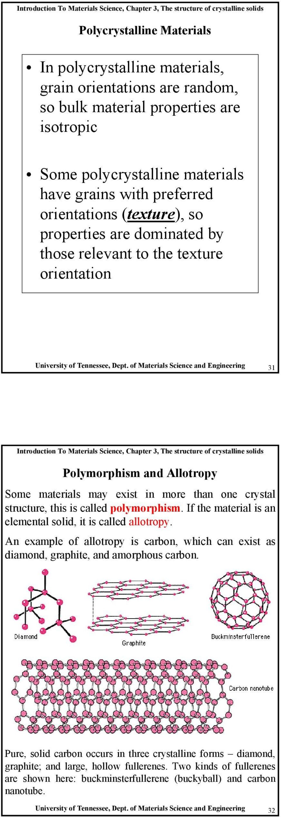 of Materials Science and Engineering 31 Polymorphism and Allotropy Some materials may exist in more than one crystal structure, this is called polymorphism.