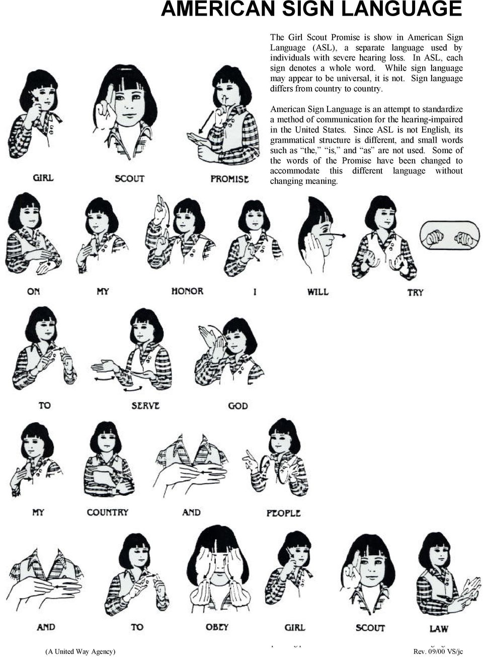 image regarding Cub Scout Motto in Sign Language Printable identified as THE Quite a few LANGUAGES OF THE Woman SCOUT Warranty AND Regulation - PDF